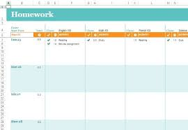 Homework Calendar Templates Interesting Free Homework Schedule Template For Excel Online