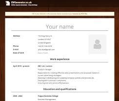 resume generator online online cv generator free and easy cvgenerator co uk