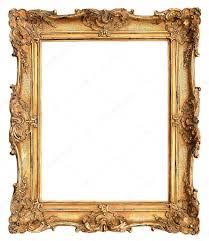 frame. Antique Golden Frame Isolated On White Stock Photo