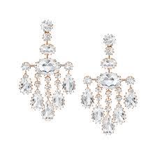large rock crystal chandelier earrings in 18k rose gold antique style claw setting secure post with clip back closures designed by ivanka trump