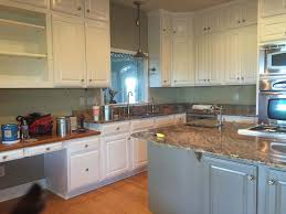 progress pic of kitchen with benjamin moore s bm cloud white cabinets and bm