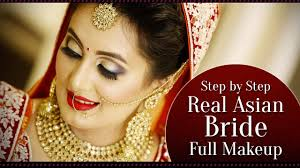 real asian bridal makeup tutorial step by step indian bridal makeup with golden glitter eyes