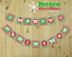 Merry Christmas Banner Print Retro Christmas Banner Diy Printable Merry Christmas Banner