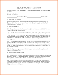 Purchase Contract Template Art Resume Examples