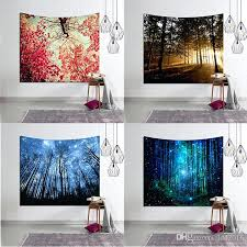 hanging blankets on walls nature forest tapestry trees stars print polyester wall hanging tapestries yoga blankets hanging blankets on walls