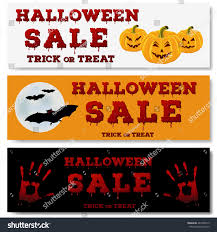halloween sale flyer set halloween horizontal banners design flyer stock vector