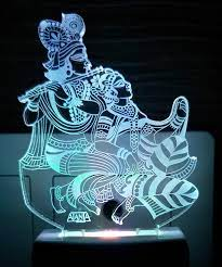 Buy AEON METAL STICKER 3D Radhe Krishna ...