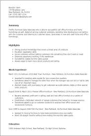 Furniture Sales Associate Resume Template Best Design Tips