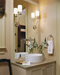 Pretty Bathroom Wall Sconce with Tall Sink Next to Tall Bathroom
