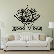 Lotus Flower Color Chart Us 5 91 26 Off Lotus Flower Design Wall Decals Yogo Studio Decor Good Vibes Vinyl Wall Sticker Boho Decor For Home Lotus Flowers Mural Az110 In Wall