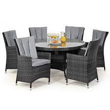 maze rattan garden furniture la grey 6 seater round dining table set