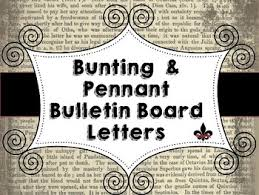 old book bulletin board letters bunting pennet style