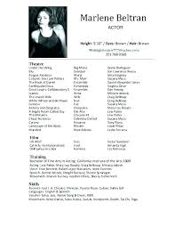 Example Of Acting Resume Actor Sample Resume Good Acting Resume