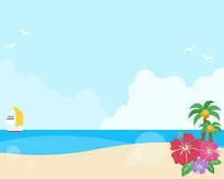 夏の青空と砂浜の背景フレームイラスト 無料フリーイラスト素材集