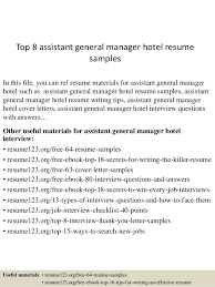 Sample Hotel General Manager Resume Top 8 Assistant General Manager Hotel Resume Samples