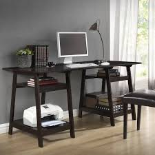 Amazon.com: Baxton Studio Mott Dark Brown Wood Modern Desk with Sawhorse  Legs, Large: Kitchen & Dining