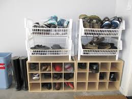 interior: Elegant Garage With Fine Decor Of Cheap Shoe Storage Made Of  Brown Wooden Material