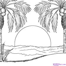 Small Picture Sunset coloring pages to download and print for free