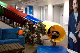google office in uk. can a giant slide in your office be good for business? google uk