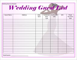 Printable Wedding Guest List Organizer Free Printable Wedding Guest List Template 1 Platte Sunga