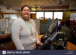 Restaurant Hostess Navajo Woman Working As A Restaurant Hostess In Farmington