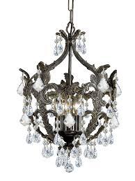 5 light english bronze crystal mini chandelier dd in clear swarovski strass crystal