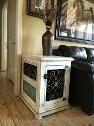 awesome custom dog kennel end table night stand wood and iron finished throughout dog kennel end table