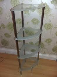 bathroom corner glass shelving unit
