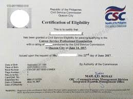 Civil Service Exam Ph Issuance Of Civil Service Certificate Of