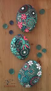 Hand Painted Rock Art - Natural Painted Stones - Mandala Design -  Hummingbird Art - ethereal