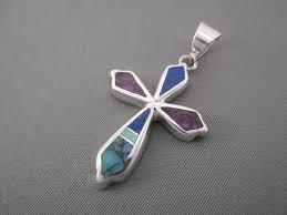 inlay cross inlaid multi stone cross pendant native american jewelry 165