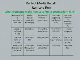 postmodernism run lola run perfect media recall run lola run what elements make run lola run a postmodern film
