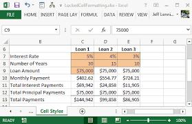 Loan Format In Excel Format Locked Or Unlocked Cells Excel University