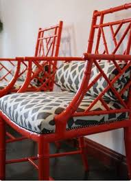 red bamboo chairs with gray trellis fabric totally doing this to my dining room chairs