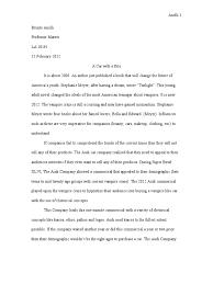 rhetorical analysis essay final copy twilight meyer novel