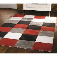 liberty glade check black red white grey rug