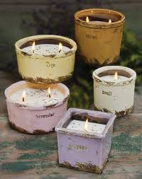 An assortment of unique and decorative containers with 100% American  soybean wax candles  intensely fragrant in signature scents!