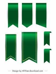 Vector Ribbon Decor Ribbon Templates Shiny Green Design