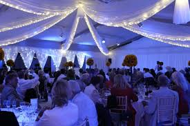 Fabric fairy light canopy with full room drape at Ladywood Estate