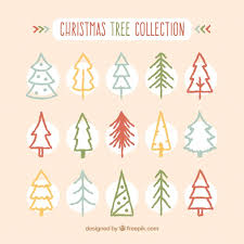 Christmas Tree Hand Drawn Collection On Simple Design Vector