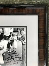 george mendonsa vj day sailor kissing nurse signed 8x10 custom framed display
