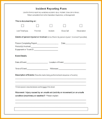 Free Incident Report Template Accident Incident Form
