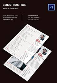 Premium Construction Manager Resume Portfolio Template Free