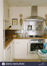 Small Fitted Kitchen Small Modern Cream Kitchen With Stainless Steel Extractor Above