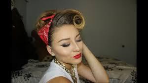 pinup bandana hair and makeup tutorial you