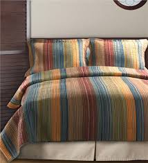 Multi-Colored Striped Quilt Set | Linens | Plow & Hearth & Main image for Full/Queen Multi-Colored Striped 100%26#37; Adamdwight.com