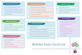 Printable Birthday Party Checklist Templates