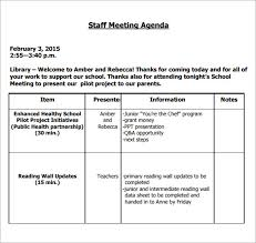 Templates For Meeting Agenda Sample Staff Meeting Agenda 5 Example Format