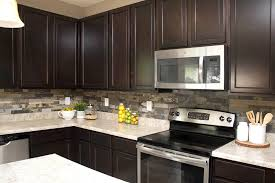 stone kitchen backsplash dark cabinets. Beautiful Kitchen Not Too Bad Considering The Kitchen Now Looks Amazing And We Knocked It Out  In Two Short Evenings With 3 Kids Running Around With Stone Kitchen Backsplash Dark Cabinets P