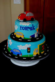 1st Birthday Cake Ideas Cars Vehicles Made For A Little Boy Who